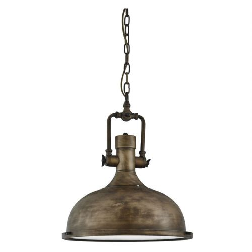 Industrial Pendant - 1 Light Painted Antique, Frosted Glass Diffuser 1322Bg